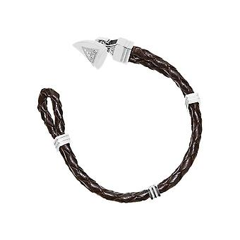 Guess mens bracelet stainless steel Leather Brown UMB21515-S