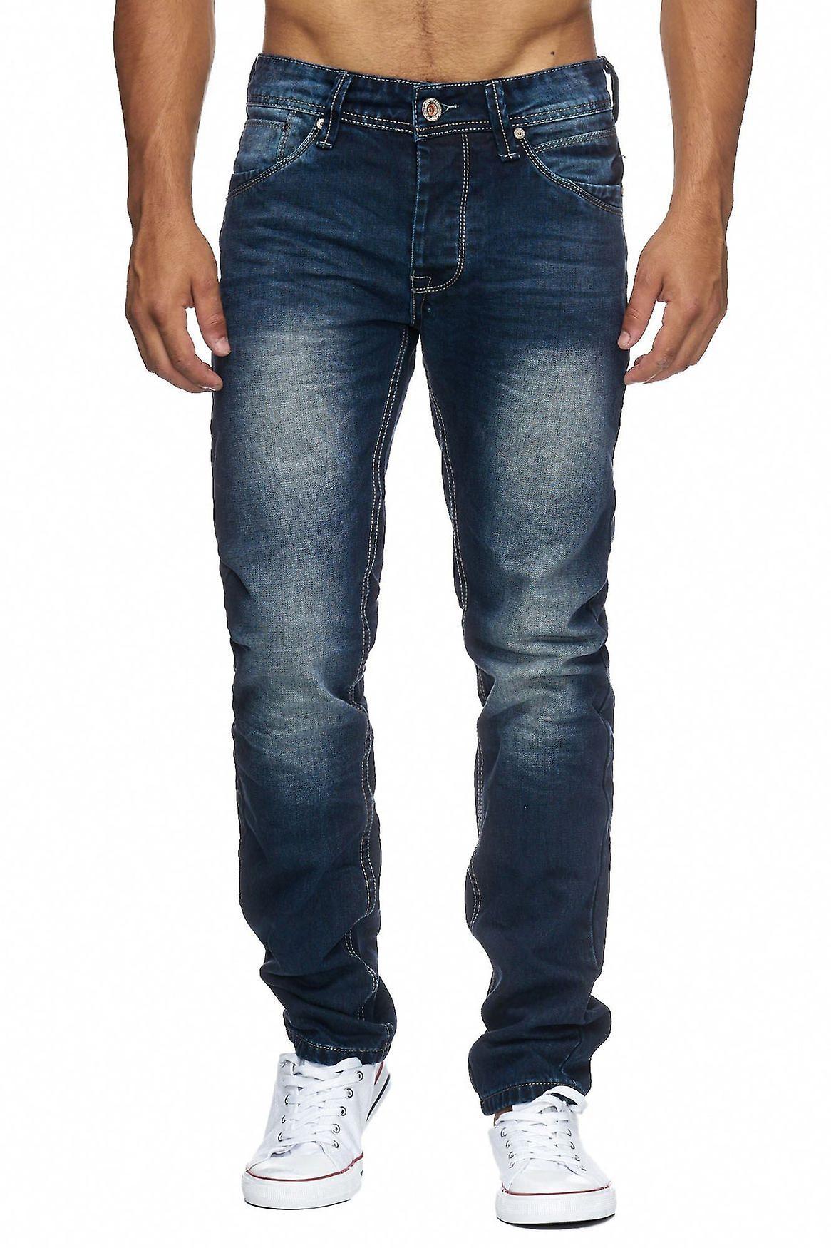 Mens Regular Fit Jeans Nr.1608 Stone Washed Denim Five Pocket Pants Straight