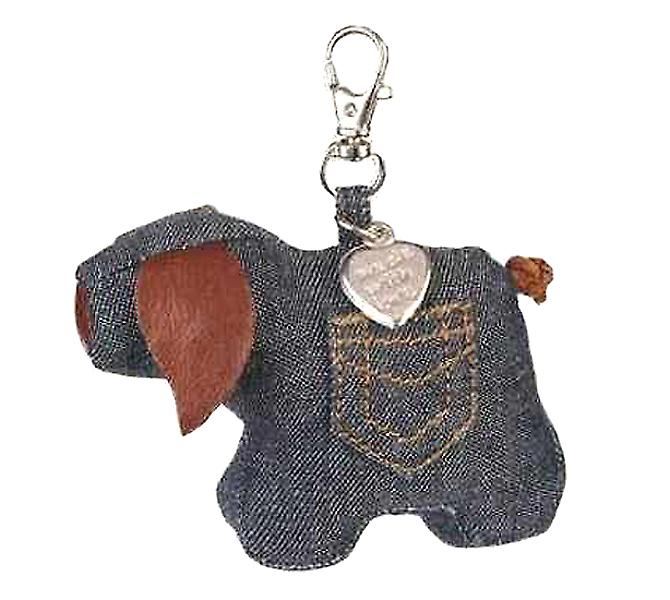 Denim Pig Bag or Key Charm by Monica Richards