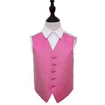 Fuchsia Pink Greek Key Wedding Waistcoat for Boys