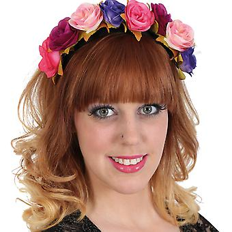 Headband Mexican day of the dead flowers blue-pink-orange red accessory