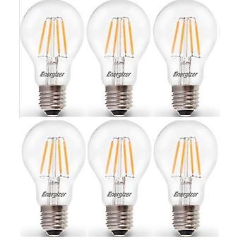 6 X Energizer LED Filament GLS Light Bulb Lamp Vintage ES E27 Clear 4.5W = 40W ES E27 Cap[Energy Class A+]