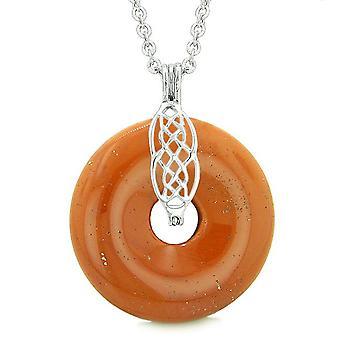 Celtic skjold knude beskyttelse magiske kræfter Amulet rød Jasper heldig Donut vedhæng 18 tommer halskæde