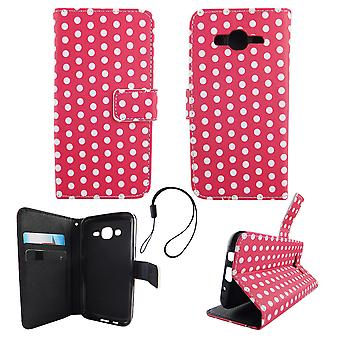 Mobile phone case pouch for mobile Samsung Galaxy J5 2015 polka dot Pink White