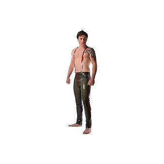 Westward Bound Trousers With Braces, Semi-Transparent Green With Red Trim