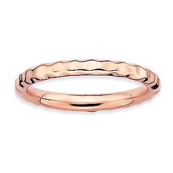 Sterline d'argento lucidate fantasia impilabile espressioni placcato rosa martellato anello - anello di dimensioni: 5-10
