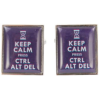 Zennor Keep Calm Press Ctrl Alt Del Cufflinks - Blue