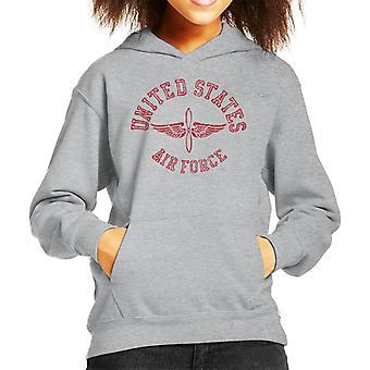 US Airforce Winged Propeller Red Text Kid's Hooded Sweatshirt