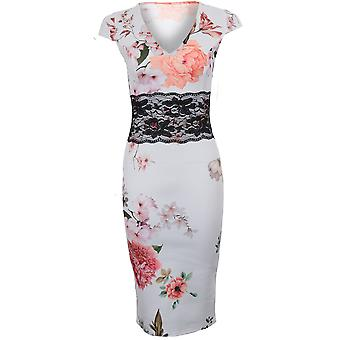 Ladies Cap Sleeve V Neck Flower Floral Lace Insert Stretch Bodycon Midi Dress