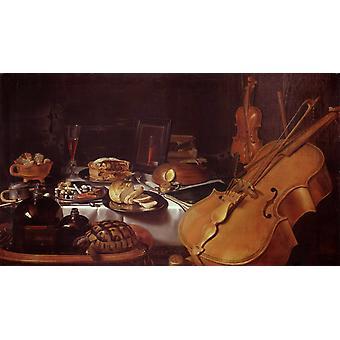 Still Life with Musical instruments, Pieter Claesz, 80x40cm
