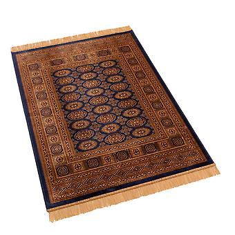 Traditional Blue Persian Bokhara Artificial Faux Silk Effect Rugs 8438/9 100 x 140cm