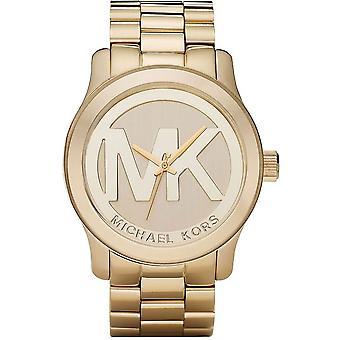 Michael Kors Ladies Runway MK Logo Wrist Watch Gold Bracelet MK5473