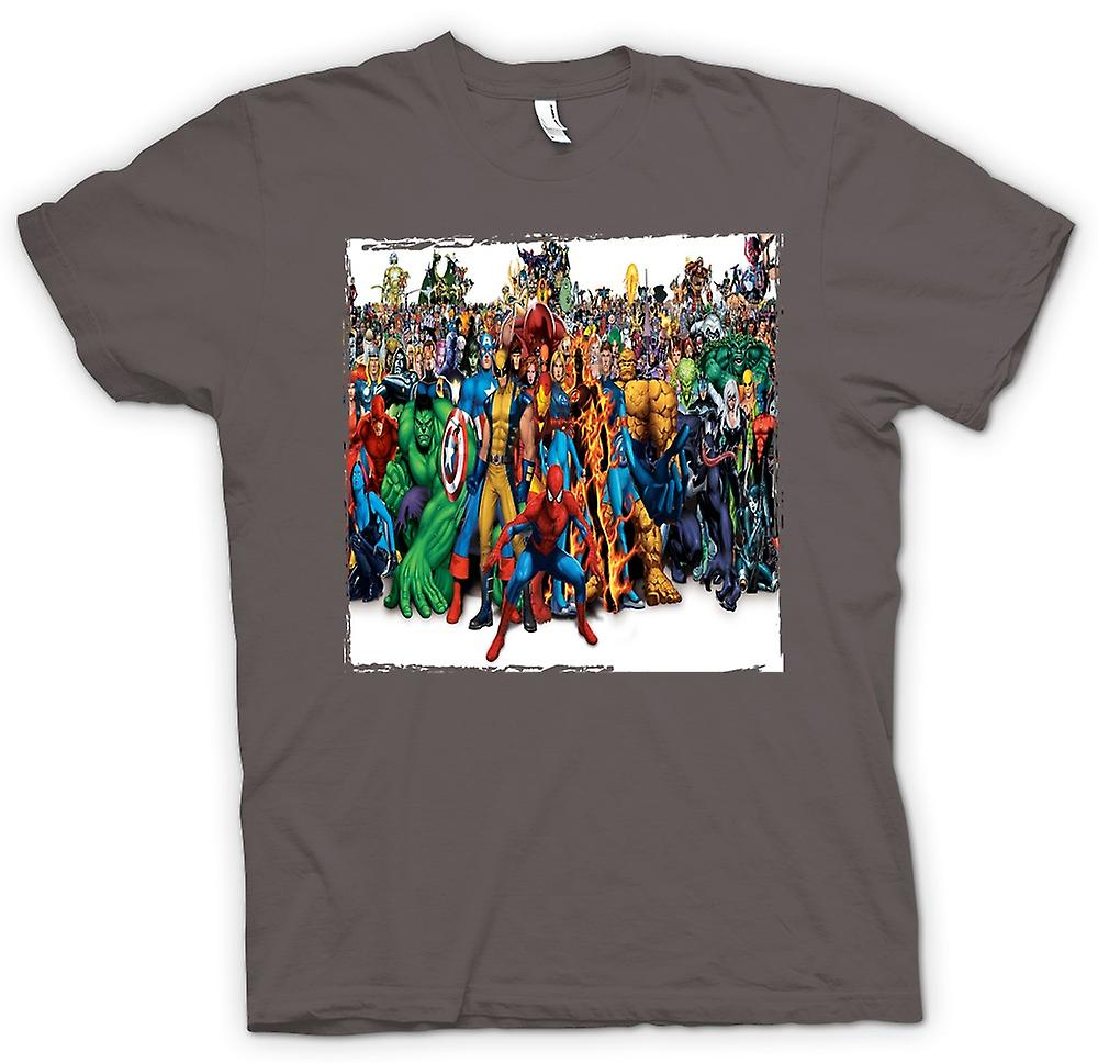 Mens T-shirt - Marvel Comic Hero Group - Portait