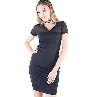 Lovemystyle Black V-Neck Dress With Mesh Top