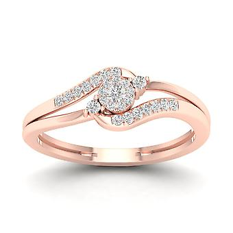 IGI Certified 10k Rose Gold 0.12 Natural Diamond Fashion Engagement Ring Size