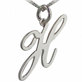Silver 25mm initial H with a curb Chain 24 inches