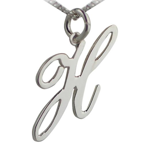 Silver 25mm initial H with Curb chain