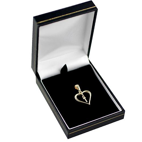 9ct Gold 18x18mm heart Pendant with a hanging Initial T