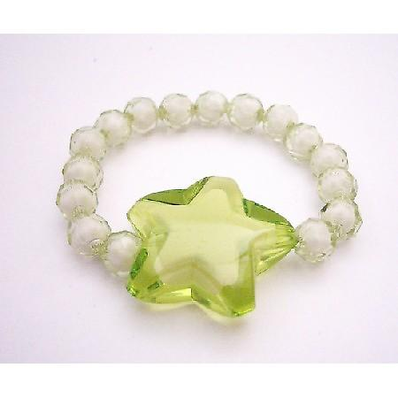 Stretchable Bracelet Peridot Star On White Beads Comfortable Jewelry