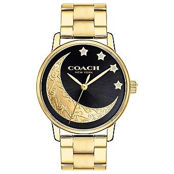 Coach | Womens Grand | Gold With Moon Detailing On Face | 14503278 Watch