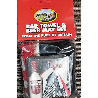 Smirnoff Vodka Cotton Bar Towel and 10 Beermats (pp)