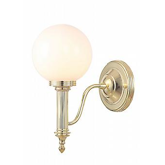 Polished Brass Bathroom Wall Light with a Glass Sphere