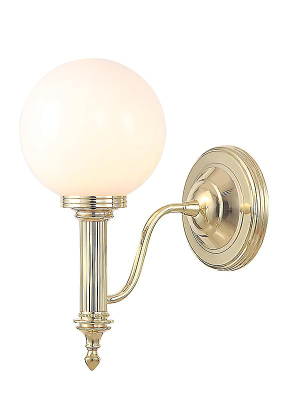 Elstead BATH/CARROLL4 PB Carroll Polished Brass Bathroom Wall Light with a Glass Sphere