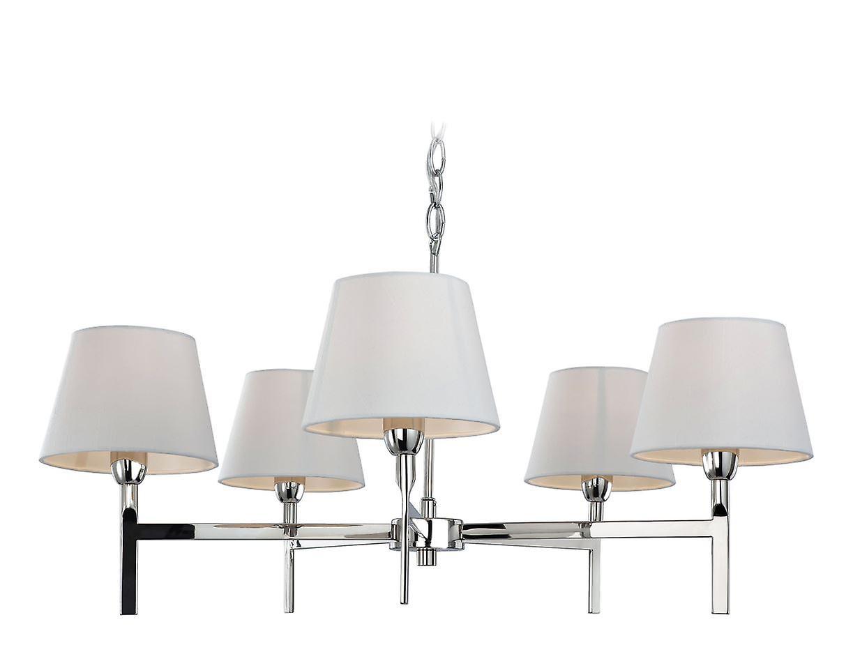 Firstlight - 5 Light Ceiling Pendant Light Polished Stainless Steel, Cream - 8219PST