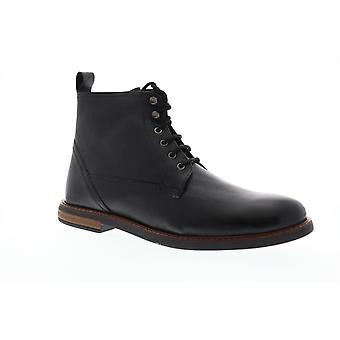 Ben Sherman Brent Plain Toe  Mens Black Leather Casual Dress Boots Shoes