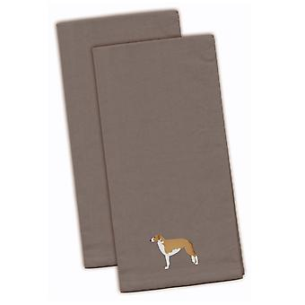 Borzoi Russian Greyhound Gray Embroidered Kitchen Towel Set of 2