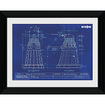 Doctor Who Dalek Blueprint gerahmt Collector Print 40x30cm