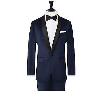 Dobell Mens Navy Velvet 2 Pezzo Tuxedo Slim Fit Contrasto Shawl Lapel