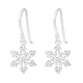 Snowflake - 925 Sterling Silver Cubic Zirconia Earrings - W5790X