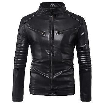 Allthemen Men-apos;s Cuir Manteau Fold Décoration Slim Fit Stand Collar PU Veste