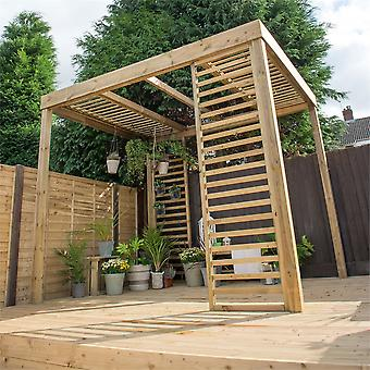 Forest Garden Wooden Dining Pergola with Panels