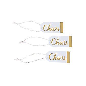24 kleine Cheers Gold & weiß gefallen oder Geschenkanhänger | Weihnachtsgeschenk-Wrap