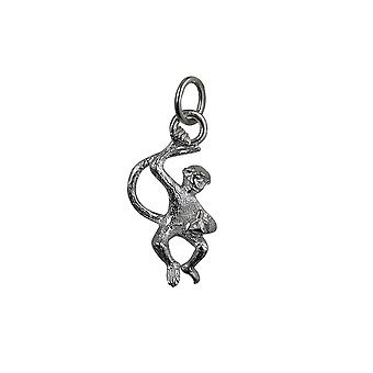 Silver 22x12mm Monkey with Banana Pendant or Charm