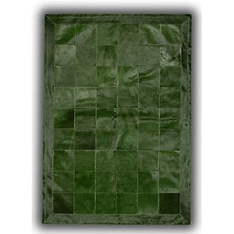 Rugs - Patchwork Leather Cubed Cowhide - Green Olive with Border