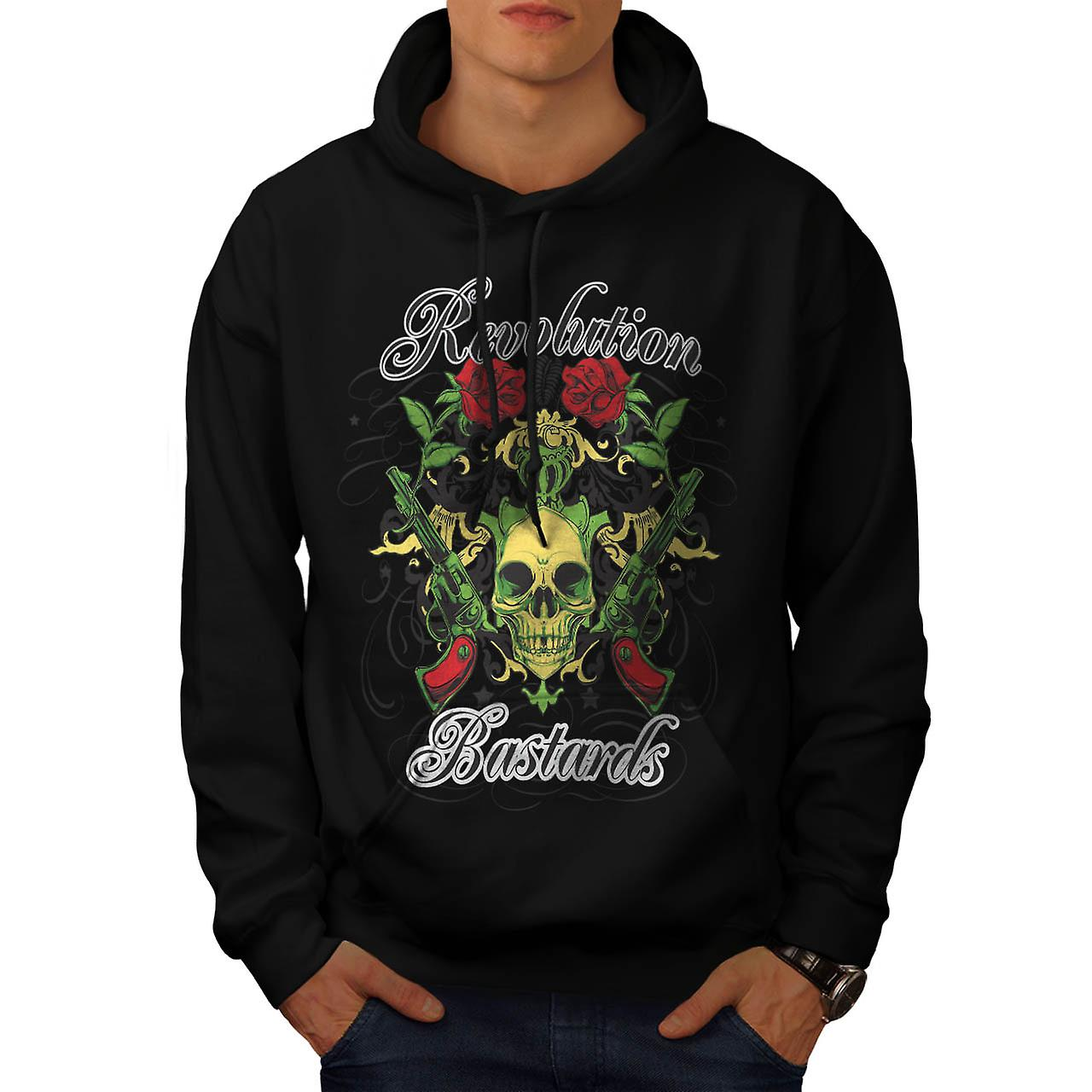 Revolution Bastards Roses Guns Men Black Hoodie | Wellcoda