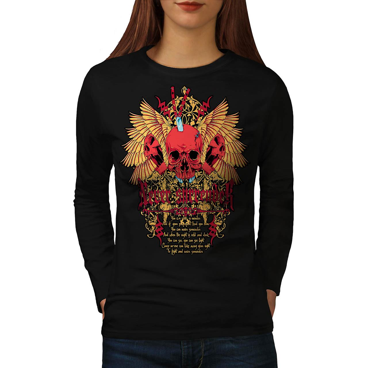 Never Surrender Skull Curse Head Women Black Long Sleeve T-shirt | Wellcoda