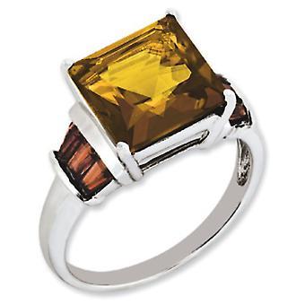 Sterling zilveren Whiskey Quartz en Tabber Garnet Ring - Ring grootte: 5 tot en met 10
