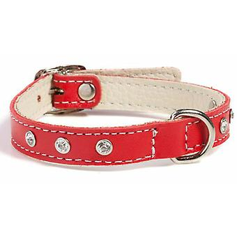 Doggy Things Fantasia Leather Dog Collar Red 30cm