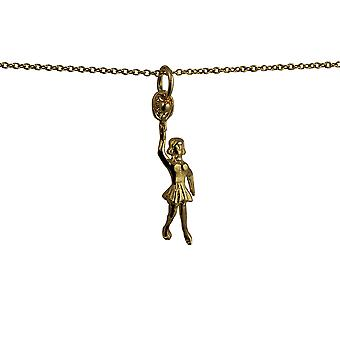 9ct Gold 29x9mm Female Tennis Player with Racket and Ball Pendant with a cable Chain 16 inches Only Suitable for Children