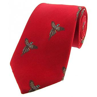 David Van Hagen Flying Pheasants Woven Country Silk Tie - Red
