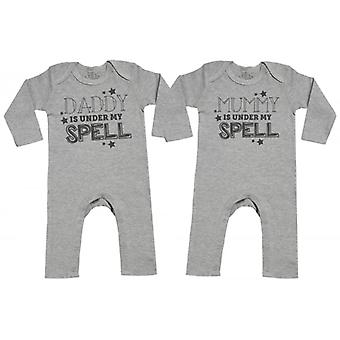 Spoilt Rotten Daddy & Mummy Under My Spell Baby Footless Romper Twins Set
