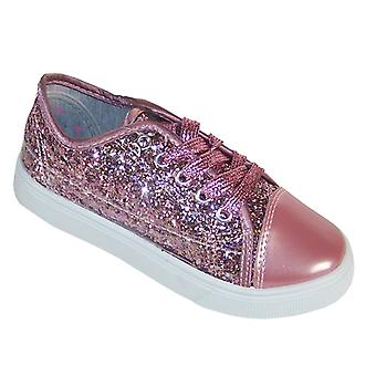 Girls rose pink glitter sparkly trainers