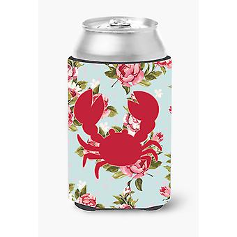 Crab Shabby Chic Blue Roses Can or Bottle Beverage Insulator Hugger BB1104