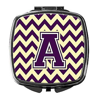 Carolines Treasures  CJ1058-ASCM Letter A Chevron Purple and Gold Compact Mirror