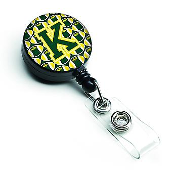 Letter K Football Green and Yellow Retractable Badge Reel