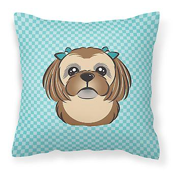 Checkerboard Blue Chocolate Brown Shih Tzu Canvas Fabric Decorative Pillow